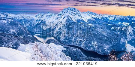 Panoramic view of famous Königssee with Watzmann mountain from Jenner mountain summit in beautiful evening light during sunset in winter, National Park Berchtesgadener Land, Upper Bavaria, Germany