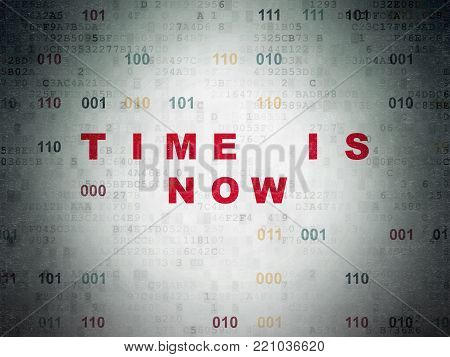 Timeline concept: Painted red text Time is Now on Digital Data Paper background with Binary Code