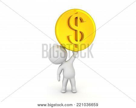 3D Illustration Of Shiny Golden Dollar Coin
