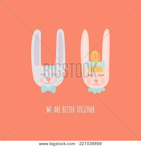 We are better togehter. Cute hand drawn rabbits in love. Valentine's day or wedding card. Stock vector