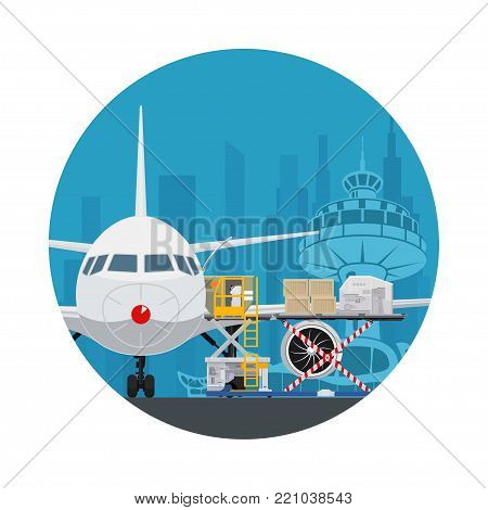 Icon Air Cargo Services and Freight, Airplane with Autoloader at the Airport on the Background of the City , Unloading or Loading of Goods into the Plane,  Illustration