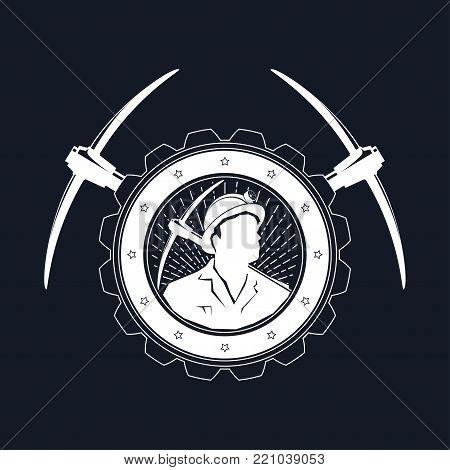 Vintage Emblem or Label of the Mining Industry, Miner Holding a Pickax in a Gear with Two Crossed Pickaxes ,  Illustration