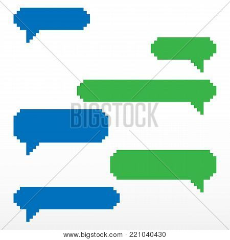 Pixel speech bubble, with place for text boxes, dialog boxes text message set. Short message service bubbles with place for text chat text boxes.