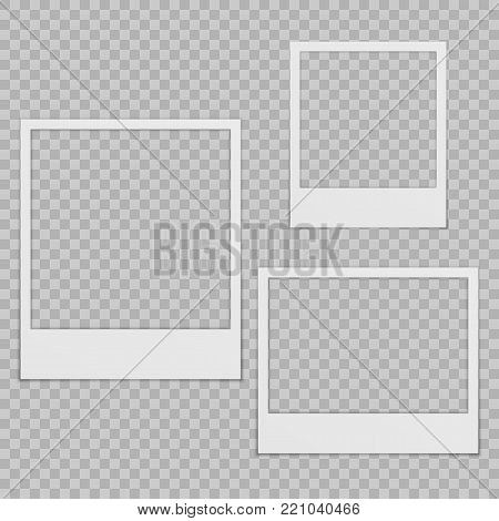 Set of blank photo frames with shadow. Isolated on transparent background. Empty template for photography and picture.