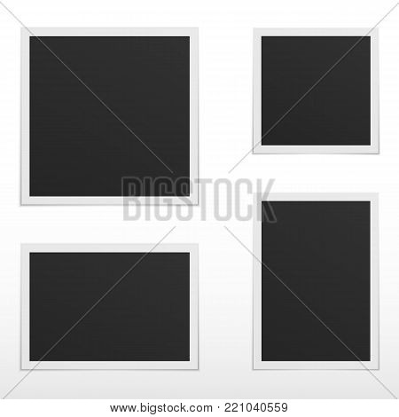 Set of blank photo frames with shadow. Isolated on white background. Empty template for photography and picture.