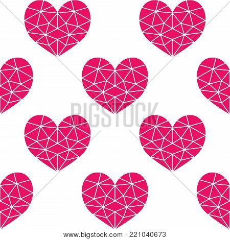Geometric pink cubic heart vector seamless pattern, Valentine's Day hearts on white background