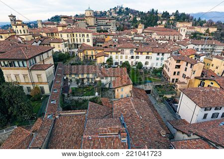 View of the old town of Bergamo in Italy