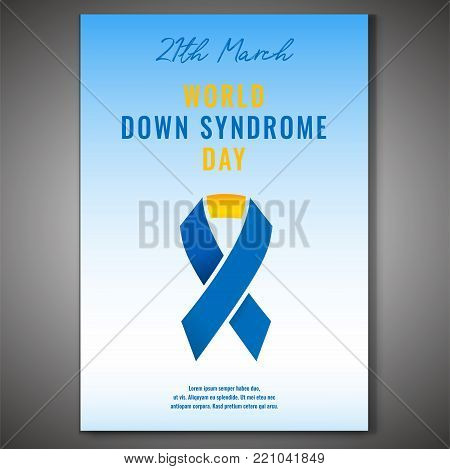 Down Syndrome Poster. 21th March - World Awareness Day. Vector Illustration In Blue, White And Yello