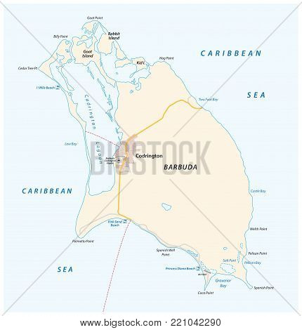 A high detailed Barbuda country vector map