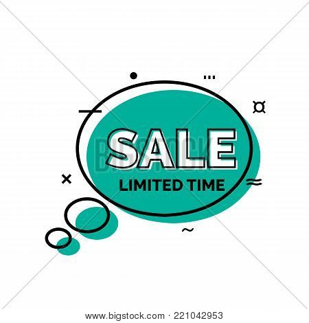 Sale limited time lettering in blue speech bubble. Inscription can be used for leaflets, posters, banners