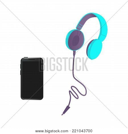 Vector flat black smartphone, bright blue headphones in modern style. High detailed icon mobile phone with black touchscreen. Isolated illustration template, white background