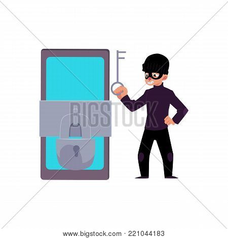 vector flat cartoon hacher data attack concept. Bandit in mask hacking smartphone protected by lock and chain, opening it by silver key. Isolated illustration on a white background.