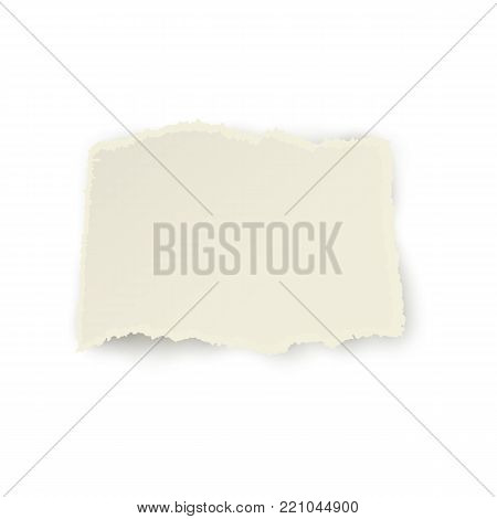Horizontal piece, ribbon of torn-off blank paper with ripped edge, realistic vector illustration isolated on transparent background. Realistic vector ribbon, banner, piece of torn-off, ragged paper