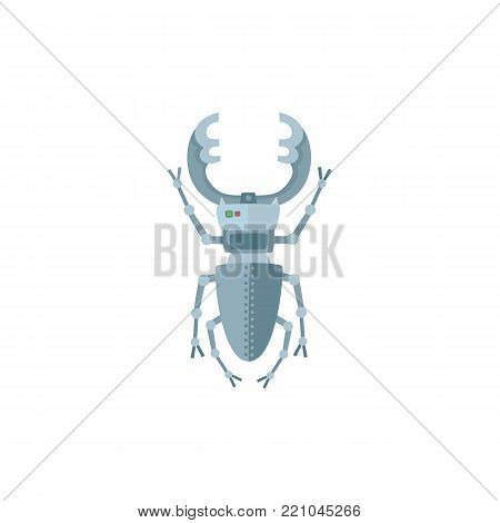 Metal insect, bug, beetle robot character, toy, military spy technology, cartoon vector illustration isolated on white background. Cut robot insect, bug, beetle, artificial intelligence concept