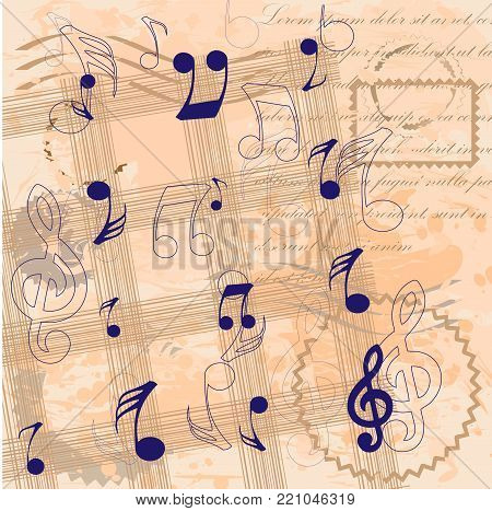 Vintage background with musical notes and treble clef