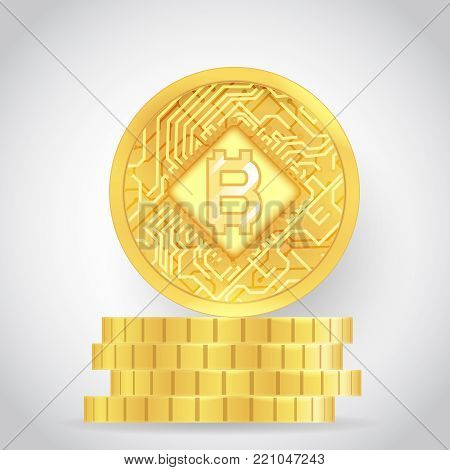 Bitcoin technology digital internet money currency coins stack icon vector illustration