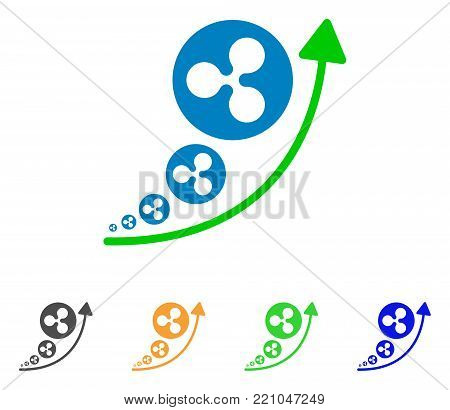 Ripple Inflation Trend icon. Vector illustration style is a flat iconic ripple inflation trend symbol with grey, yellow, green, blue color variants. Designed for web and software interfaces.