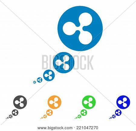 Ripple Inflation icon. Vector illustration style is a flat iconic ripple inflation symbol with grey, yellow, green, blue color variants. Designed for web and software interfaces.