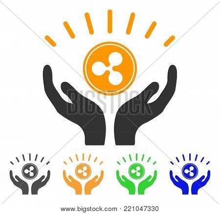 Ripple Prosperity Hands icon. Vector illustration style is a flat iconic ripple prosperity hands symbol with grey, yellow, green, blue color variants. Designed for web and software interfaces.