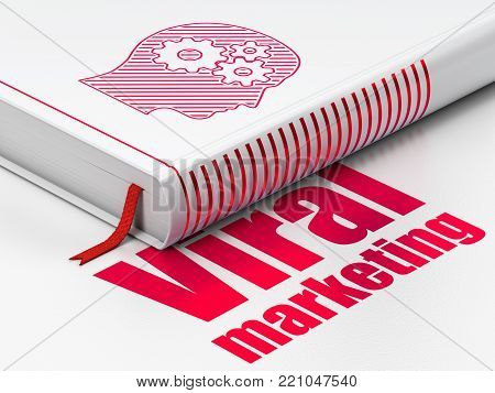 Marketing concept: closed book with Red Head With Gears icon and text Viral Marketing on floor, white background, 3D rendering