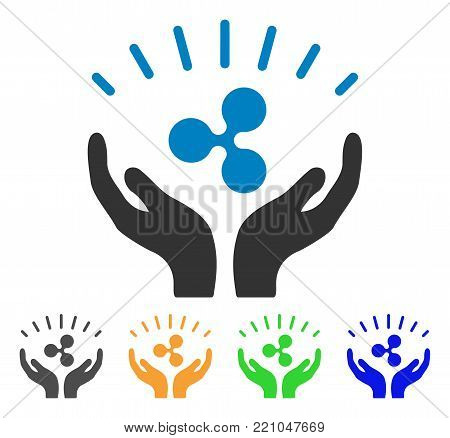 Ripple Prosperity Hands icon. Vector illustration style is a flat iconic ripple prosperity hands symbol with grey, yellow, green, blue color versions. Designed for web and software interfaces.