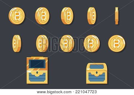 Rotation Animation Coin Bitcoin technology digital money currency internet icon vector illustration