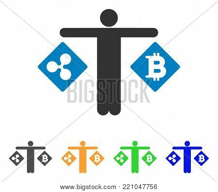 Person Compare Ripple Bitcoin icon. Vector illustration style is a flat iconic person compare ripple bitcoin symbol with gray, yellow, green, blue color versions.