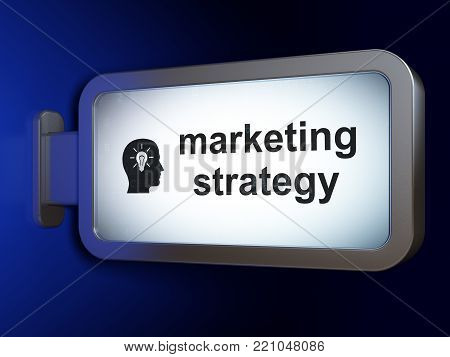 Advertising concept: Marketing Strategy and Head With Light Bulb on advertising billboard background, 3D rendering
