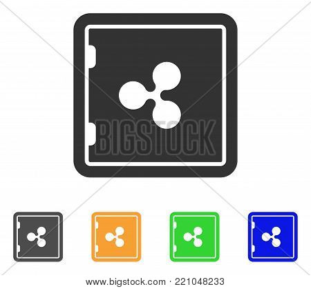 Ripple Banking Safe icon. Vector illustration style is a flat iconic ripple banking safe symbol with gray, yellow, green, blue color versions. Designed for web and software interfaces.