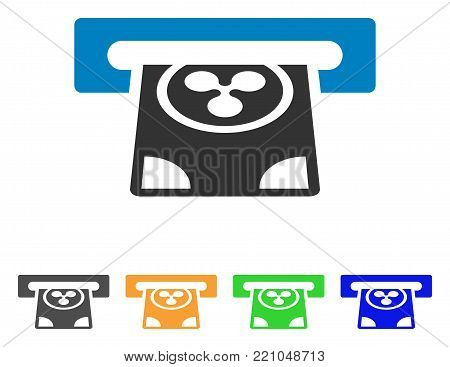Ripple Card Terminal icon. Vector illustration style is a flat iconic ripple card terminal symbol with grey, yellow, green, blue color variants. Designed for web and software interfaces.