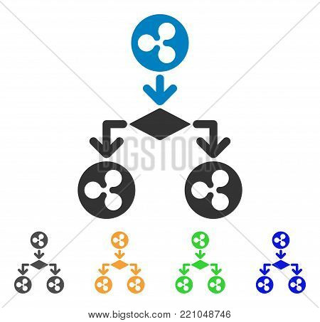 Ripple Cashflow Structure icon. Vector illustration style is a flat iconic ripple cashflow structure symbol with gray, yellow, green, blue color variants. Designed for web and software interfaces.