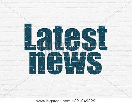 News concept: Painted blue text Latest News on White Brick wall background