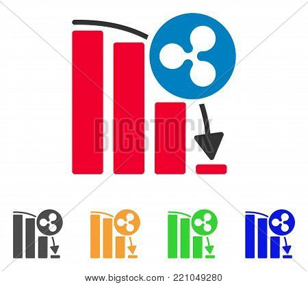 Ripple Epic Fail Graph icon. Vector illustration style is a flat iconic ripple epic fail graph symbol with grey, yellow, green, blue color versions. Designed for web and software interfaces.