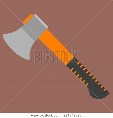 Flat Icon Hatchet Element. Vector Illustration Of Flat Icon Axe Isolated On brown Background. Can Be Used As Hatchet, Axe And Ax Symbols.