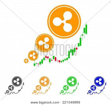 Ripple Inflation Chart icon. Vector illustration style is a flat iconic ripple inflation chart symbol with grey, yellow, green, blue color versions. Designed for web and software interfaces.