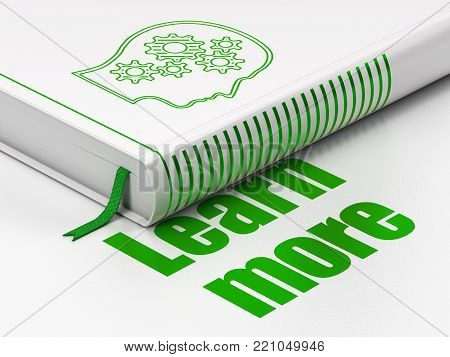 Education concept: closed book with Green Head With Gears icon and text Learn More on floor, white background, 3D rendering