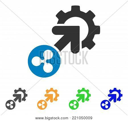 Ripple Integration Cog icon. Vector illustration style is a flat iconic ripple integration cog symbol with grey, yellow, green, blue color versions. Designed for web and software interfaces.