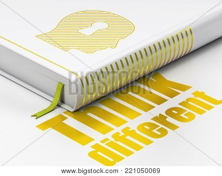 Education concept: closed book with Gold Head With Keyhole icon and text Think Different on floor, white background, 3D rendering poster
