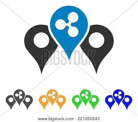 Ripple Map Pointers icon. Vector illustration style is a flat iconic ripple map pointers symbol with grey, yellow, green, blue color variants. Designed for web and software interfaces.