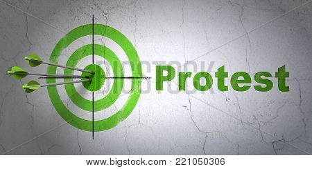 Success political concept: arrows hitting the center of target, Green Protest on wall background, 3D rendering