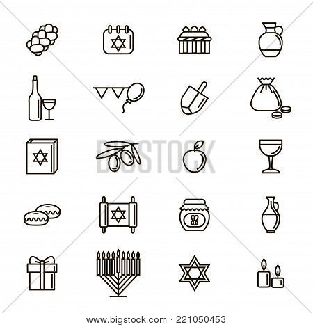 Hanukkah Signs Black Thin Line Icon Set Symbol of Traditional Judaism Religion Celebration. Vector illustration of Jewish Holiday