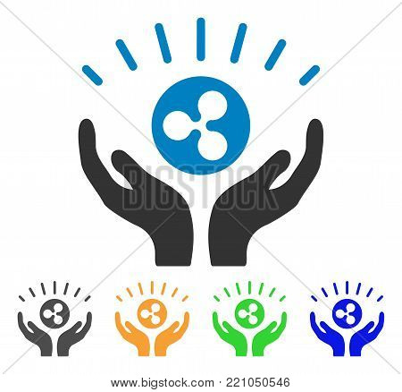 Ripple Prosperity Hands icon. Vector illustration style is a flat iconic ripple prosperity hands symbol with gray, yellow, green, blue color variants. Designed for web and software interfaces.