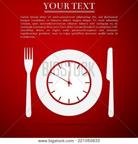 Plate with clock, fork and knife icon isolated on red background. Lunch time. Eating, nutrition regime, meal time and diet concept. Flat design. Vector Illustration
