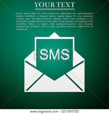 Received message concept. New, email incoming message, sms. Mail delivery service. Envelope with sms icon isolated on green background. Flat design. Vector Illustration