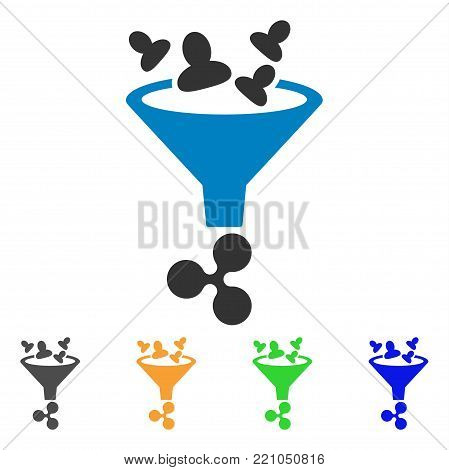Ripple Sales Funnel icon. Vector illustration style is a flat iconic ripple sales funnel symbol with gray, yellow, green, blue color versions. Designed for web and software interfaces.