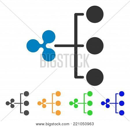 Ripple Structure Diagram icon. Vector illustration style is a flat iconic ripple structure diagram symbol with grey, yellow, green, blue color versions. Designed for web and software interfaces.
