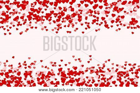 Heart confetti of Valentines petals falling on pink background. Red pattern of random falling hearts confetti. Chaotic shape on white valentine background. Border design element for Valentines day.