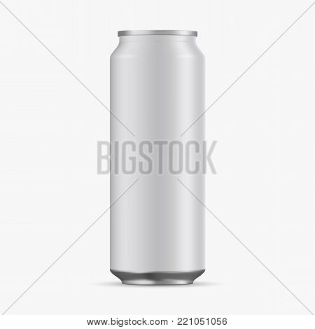 Aluminum Cans Empty 500ml on white background. Realistic 3d vector of empty aluminum cans for beer, juice, water, lemonade for your design