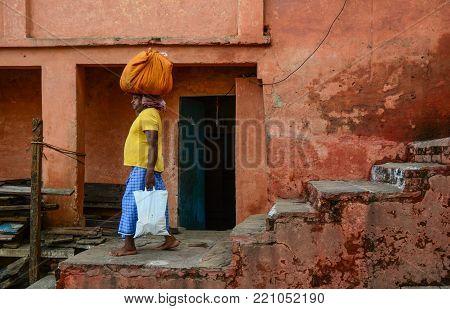 People On Street In Varanasi, India