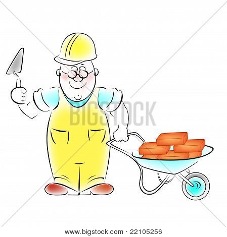 Illustration of the builder with a trowel and a cart loaded with bricks.